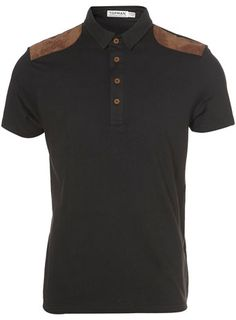 WASHED BLACK SUEDE PATCH POLO  Price: £22.00