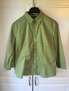 New York & Company Citystretch Women's XL 3/4 Sleeve Button Up Lime Green #NewYorkCompany #ButtonDownShirt #Casual