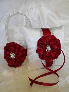 White and Apple Red Flower Girl Basket and matching Ring Bearer Pillow with Rhinestone Mesh handle and Trim, Lots of Bling