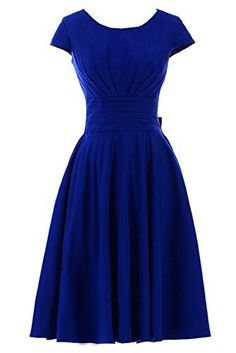 Royal Blue dress with 50s flair.