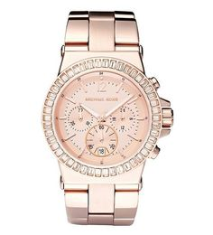 Seriously obsessed with this Michael Kors watch! So pretty! michael kors baguette-bezel watch rose gold