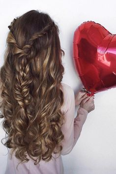 "Curls and Braids on @oleksa.z who is wearing 24"" Dirty Blonde #LuxyHairExensions for length and highlights. Happy Valentine's Day! <3"