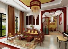 Chinese traditional living room design with piano