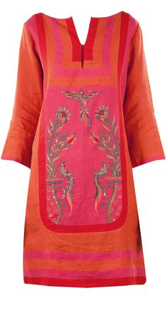 Pink and orange colourblock linen dress by ANITA DONGRE. Shop now at perniaspopupshop.com