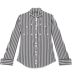 Balmain Striped Cotton Shirt ($1,900) ❤ liked on Polyvore