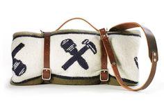 No. 399 Blanket and Carrier, Faribault Woolen Mills Olive/Blue/Cream