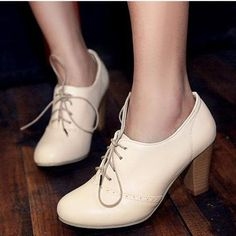 2016 Vintage British Style Lacing Thick Heel Oxford Pumps Shoes Women High-Heeled Shoes For Women Ankle Boots Plus Size Shoes