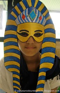 Make Tutankhamun Mask  http://useyourcolouredpencils.blogspot.com/search/label/ancient%20egypt#