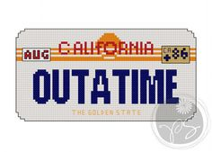 Back to the Future - Outatime plate (Printable PDF Pattern). $3.50, via Etsy.