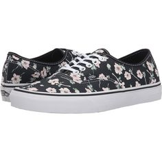 Vans Authentic ((Vintage Floral) Blue Graphite) Skate Shoes ($35) ❤ liked on Polyvore featuring shoes, sneakers, blue, vans trainers, floral print shoes, blue leather sneakers, floral sneakers and blue shoes