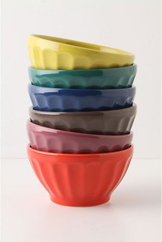 """Latte Bowls. A versatile classic for the kitchen, now in a cupboard's worth of colors.  Set of six.  Porcelain.  Dishwasher and microwave safe.  18 oz.  3""""H, 5.5"""" diameter.  Portugal.  #973328  $30.00  http://www.anthropologie.com/anthro/catalog/productdetail.jsp?id=973328&catId=HOME-TABLETOP-DINNERWARE&pushId=HOME-TABLETOP-DINNERWARE&popId=HOME&navAction=top&navCount=54&color=023&isProduct=true&fromCategoryPage=true&subCategoryId=HOME-DINNER-BOWLS Pigment"""