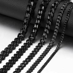 Stainless Steel 3-11mm 18-36 Black Curb Cuban Link Mens Chain Necklace Bracelet  - Ideas of Necklace #Necklace Gold Necklace For Men, Black Chain Necklace, Necklace Types, Men Necklace, Gold Necklaces, Necklaces For Men, Chain Necklaces, Mens Necklace Pendants, Diamond Necklaces