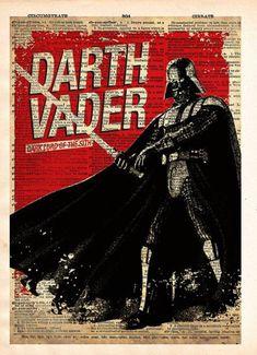 Star Wars Darth Vader, Vintage Silhouette print, Retro Star Wars Art,  Dictionary print art