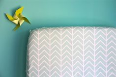 fitted crib sheet in mint chevron (exclusive to iviebaby). $55.00, via Etsy.
