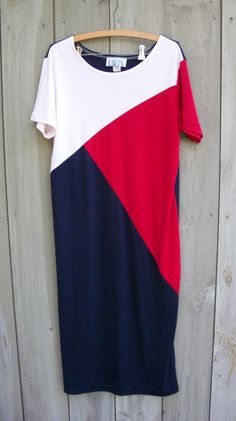 Vintage dress - knit red, white and blue T-shirt dress. $16.00, via Etsy.