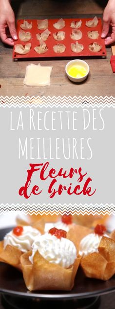 Découvrir la recette des fleurs de brick Biscuits, Cereal, Brunch, Food And Drink, Pudding, Bricks, Breakfast, Desserts, Cooking