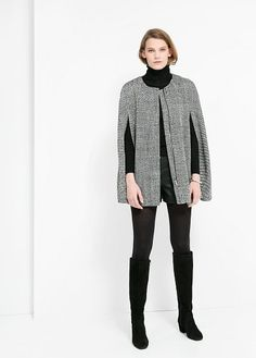 Wool-Blend Knit Cape