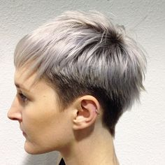 Brown Pixie With Platinum Balayage