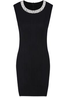 Vestido simple detalle en cuello decorado cristal sin manga-Negro EUR€30.24