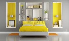 Yellow And Gray Modern Bedroom With Double Bed And Niche Rendering Grey And Yellow Bedroom Best 8 On Home Design Yellow Gray Bedroom, Grey Bedroom Decor, Yellow Bedding, Grey Room, Modern Bedroom Design, Contemporary Bedroom, Bedroom Furniture, Bedroom Ideas, Bedroom Designs