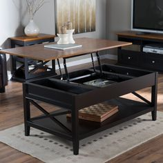 Belham Living Hampton Lift Top Coffee Table - Black/Oak - Craftsman style and loaded with modern conveniences, the Hampton Lift Top Coffee Table - Black/Oak was made for you. This coffee table has all the hal. Lift Up Coffee Table, Coffee Table With Casters, Black Coffee Tables, Cool Coffee Tables, Coffe Table, Coffee Table With Storage, Coffee Table Design, Modern Coffee Tables, Table Storage