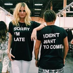 """Jac Vanek on Instagram: """"You guyyyyys. My exclusive collection for @topshop just dropped this weekend in stores!! To celebrate, we're wearing our """"I'm sorry I'm late, I didn't wanna come"""" tees today. Go to your local Topshop and tag meeeee! I'm the most excited. """""""