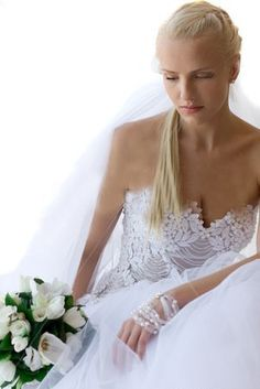 Photo about Young bride looking down, with bouquet. Image of bouquet, veil, cute - 10055096 Bride Look, Bouquet, Stock Photos, Portrait, Wedding Dresses, Cute, Design Ideas, Image, Abstract