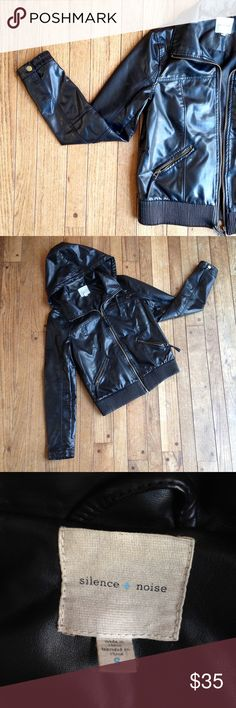 """Black vegan Silence & Noise moto jacket w/hood VGUC. Vegan motorcycle jacket w/exposed zippers and stretchy pleated waistband. Removable hood. A few tiny minor spots and a rip in the lining about 2"""" long. Otherwise, great condition! Urban Outfitters Jackets & Coats"""