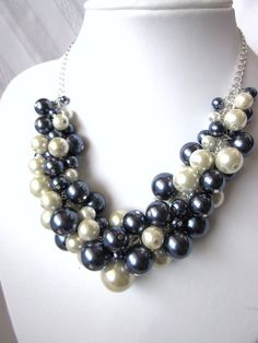 Pearl Cluster Necklace Set in Navy and White #2 - Penn State Proud - Chunky, Choker, Bib, Necklace, Wedding, Bridal, Bridesmaid