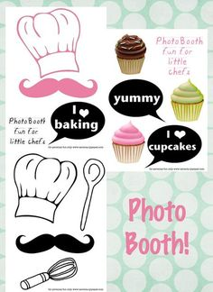 "Free printable photo booth props for ""little chefs"""