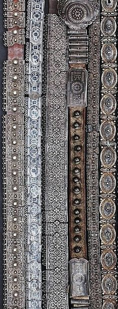 Silver Caucasian belts. From Armenia, 19th and early 20th century. Mounted on leather.