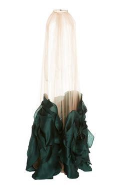 This Costarellos bi-colored halter neck sheer chiffon tulle cape dress features silk organza flower detail at the hem and a maxi length. Couture Fashion, Diy Fashion, Ideias Fashion, Fashion Show, Fashion Dresses, Womens Fashion, Fashion Design, Sheer Chiffon, Silk Organza