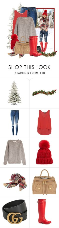 """""""Now Trending #50: Pom Pom Hat"""" by jojofashion8 ❤ liked on Polyvore featuring Improvements, WithChic, Bobeau, Mes Demoiselles..., Free People, Moschino, Gucci, Hunter and Trendy"""
