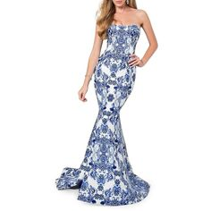 Glamour By Terani Couture Paisley-Print Strapless Train Gown ($594) ❤ liked on Polyvore featuring dresses, gowns, blue ivory, blue ball gown, white gown, ivory dress, blue gown and ivory evening gown
