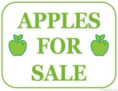 Printable Apples For Sale Sign