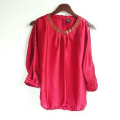 """Eyelet Blouse Pretty top worn once. Opening on the sleeves and small one on the back collar. Fitted elastic  bottom hem ~14"""" Bust ~ 18"""" Length ~ 23"""" Polyester Nue Options Tops Blouses"""