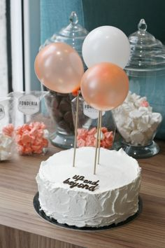 Plain birthday cake with balloons on sticks - cute & simple!  (Fonderia)