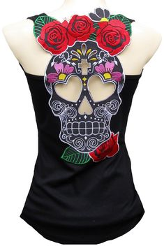 Sugar Skull Woman Black Tank Top - My Sugar Skulls