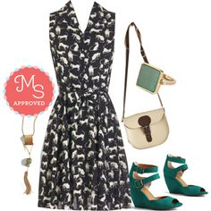 In this outfit: Hither and Yarn Dress, Charmed, I'm Sure Necklace, Amazonite and Day Rings, Have Style, Will Travel Bag, Exactly as Planned Wedge #fall #dresses #cats #prints #style #outfits #ootd #fall #ModCloth #ModStylist #fashion