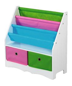 This White Two-Drawer Storage Shelf/Book Holder by home basics is perfect! #zulilyfinds