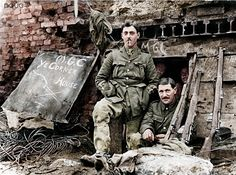 WW1 Machine Gun Corps - outside of a captured German dugout https://www.facebook.com/pages/As-tears-petrified-in-the-ground-14-18-WWI/610711125633069