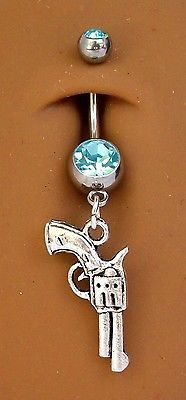 Silver pistol gun country girl aqua blue gem belly navel ring new FREE SHIP