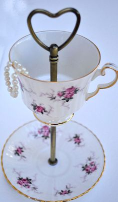 Hey, I found this really awesome Etsy listing at https://www.etsy.com/listing/195538823/teacup-stand-jewelry-display-with-pink