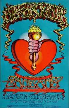Second Printing concert poster for Big Brother & the Holding Company with Janis Joplin, Santana, and Chicago at The Fillmore in San Francisco, CA in 20 x 32 inches. Artwork by Rick Griffin. Psychedelic Experience, Psychedelic Rock, Psychedelic Posters, Hippie Posters, Rock Posters, Band Posters, Music Posters, Event Posters, Janis Joplin