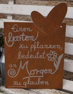 Edelrost Tafel mit Herz - Garten pflanzen... Schild Gedichttafel Spruch Text | Möbel & Wohnen, Dekoration, Schilder & Tafeln | eBay!