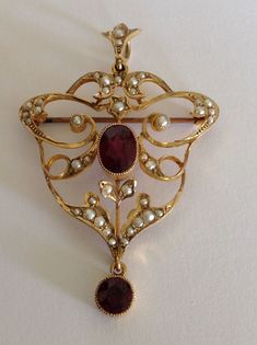 Beautiful Art Nouveau 9ct Gold Almandine Garnet & Seed Pearl Set Pendant Brooch | eBay