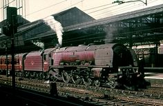 46254 City of Stoke on Trent taking over a Manchester - Birmingham train at Crewe in 1963.