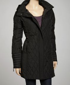Take a look at this Black Quilted Hooded Coat - Women by Kristen Blake on #zulily today!