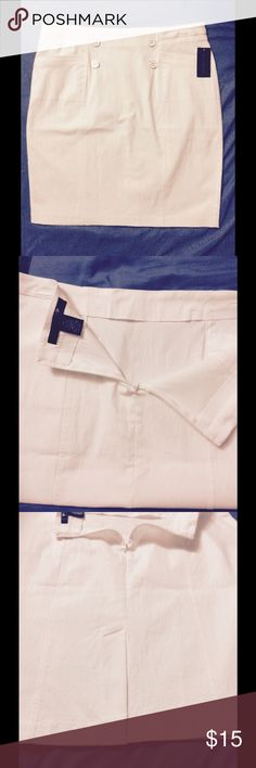 Classy White skirt(plus size) New with tags. Plus size pencil skirt zip up in back with a small split, and four decorative buttons on the front also a pocket on each side. 89th & MADISON Skirts Pencil