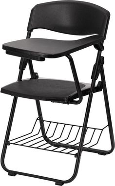 Black Plastic Chair With Left Handed Tablet Arm And Book Basket RUT L03 TAB